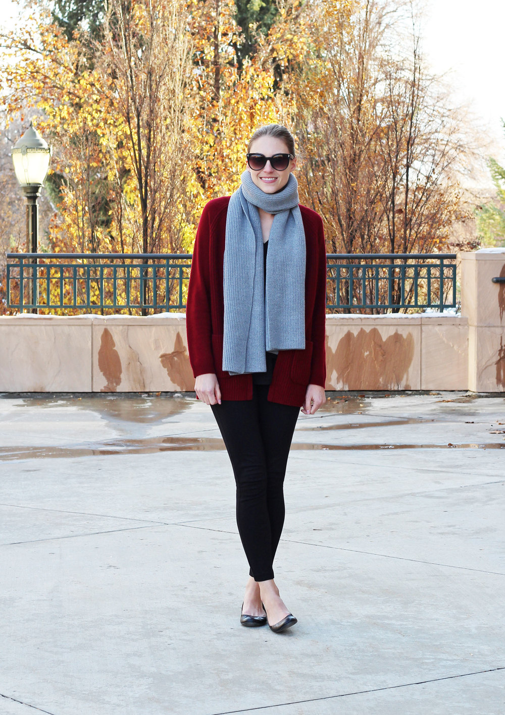 Grey wool scarf outfit with burgundy cardigan, black pants, black flats — Cotton Cashmere Cat Hair
