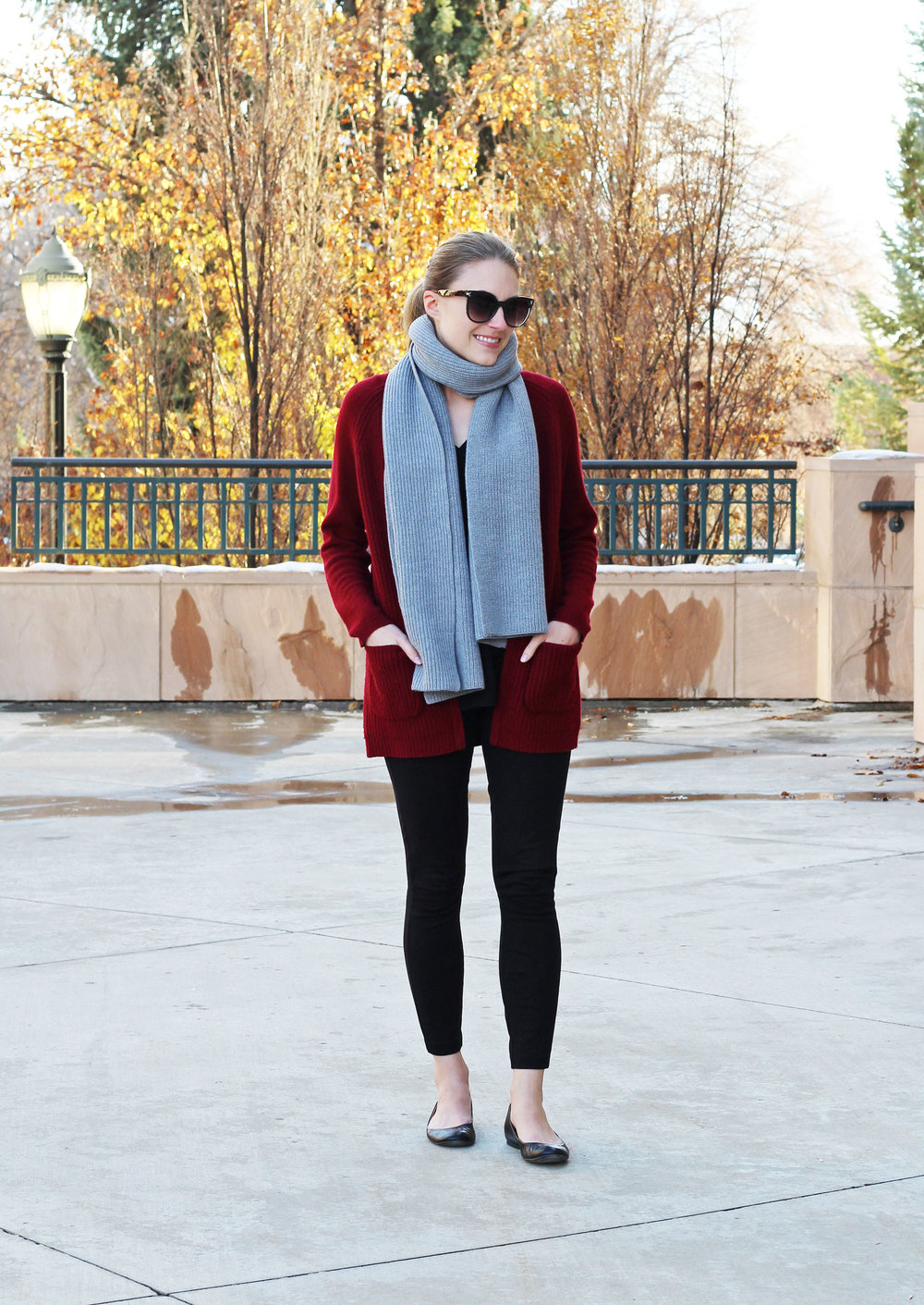 Winter outfit with grey wool scarf, burgundy cardigan, black pants — Cotton Cashmere Cat Hair