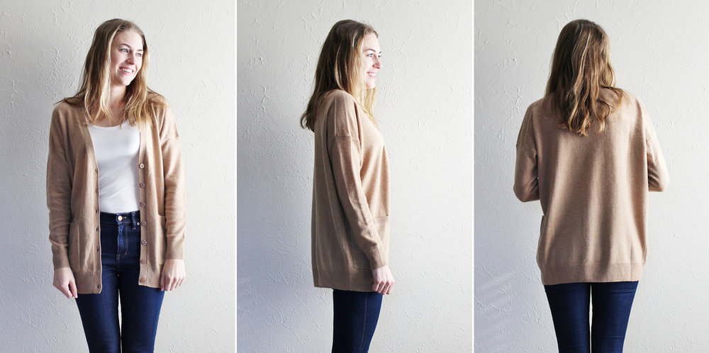Grana 'Cashmere Boyfriend Cardigan' in camel — via Cotton Cashmere Cat Hair