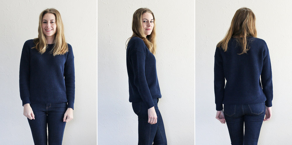 Grana 'Pima Waffle Boyfriend Crew Neck' in navy — via Cotton Cashmere Cat Hair