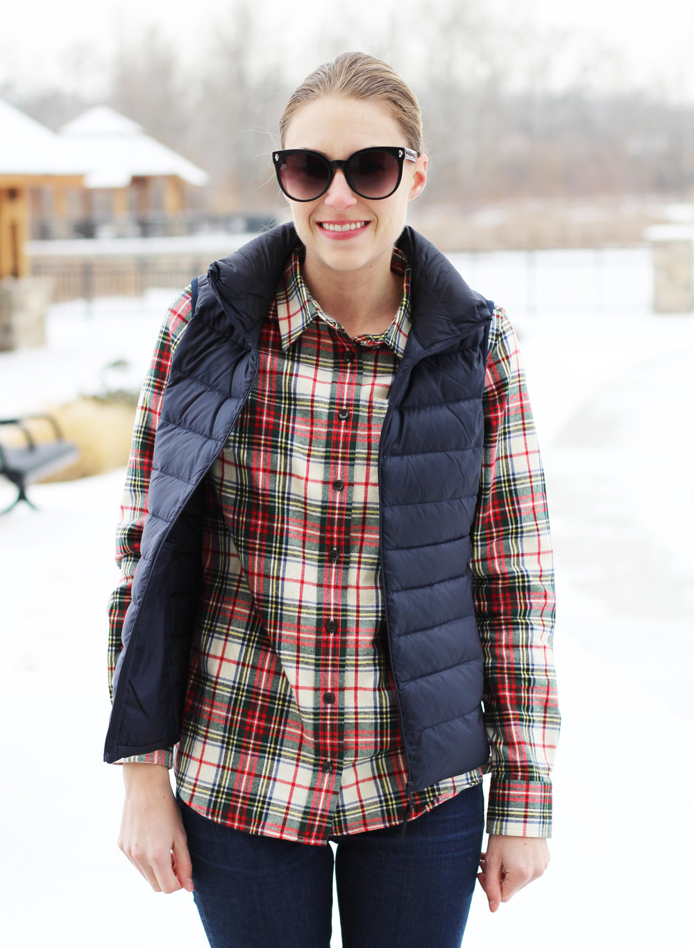 Navy vest + green and red plaid shirt — Cotton Cashmere Cat Hair