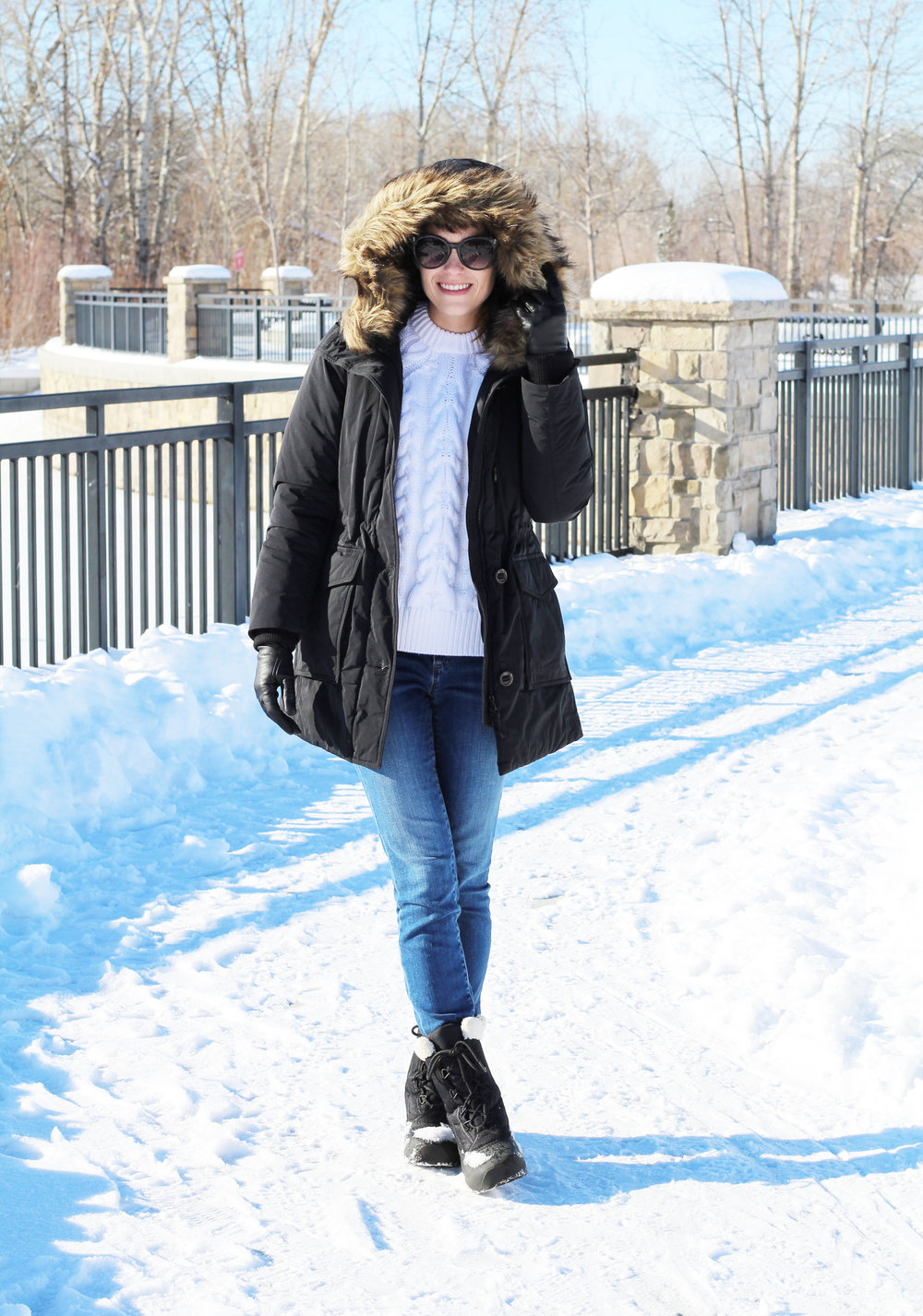 Black parka, cable knit sweater, skinny jeans, Sorel boots — Cotton Cashmere Cat Hair
