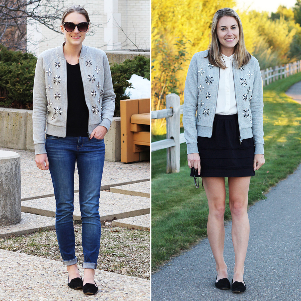 Worst purchase of 2016: Banana Republic embellished bomber jacket — Cotton Cashmere Cat Hair