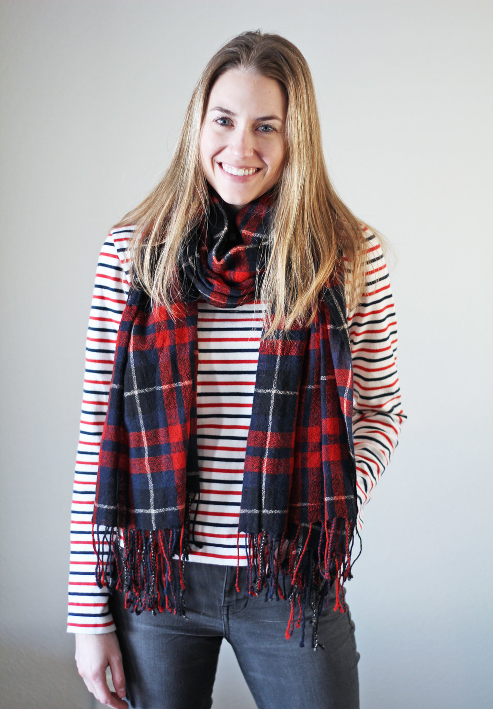 Striped tee + plaid scarf — Cotton Cashmere Cat Hair
