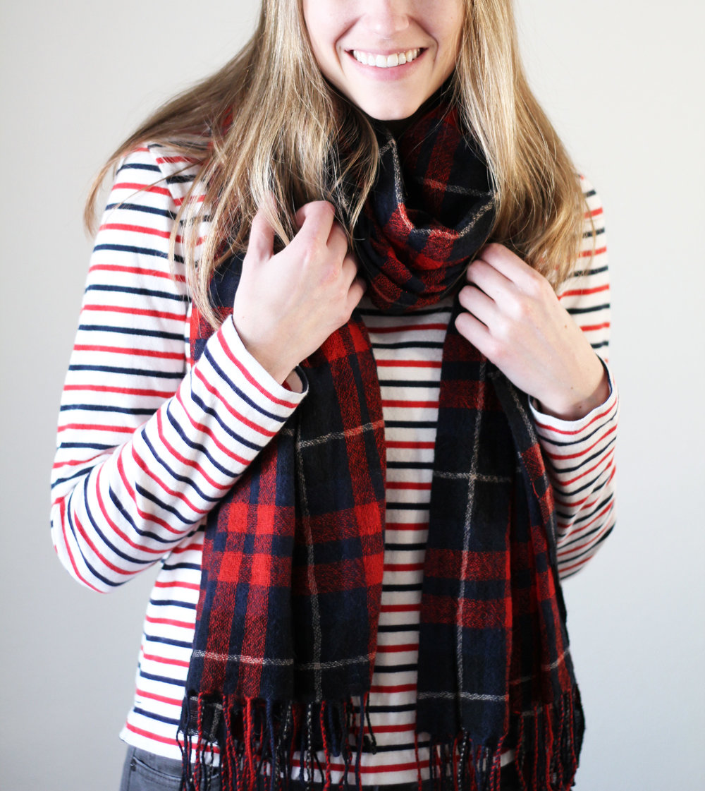 Navy and red plaid scarf with navy and red striped tee — Cotton Cashmere Cat Hair
