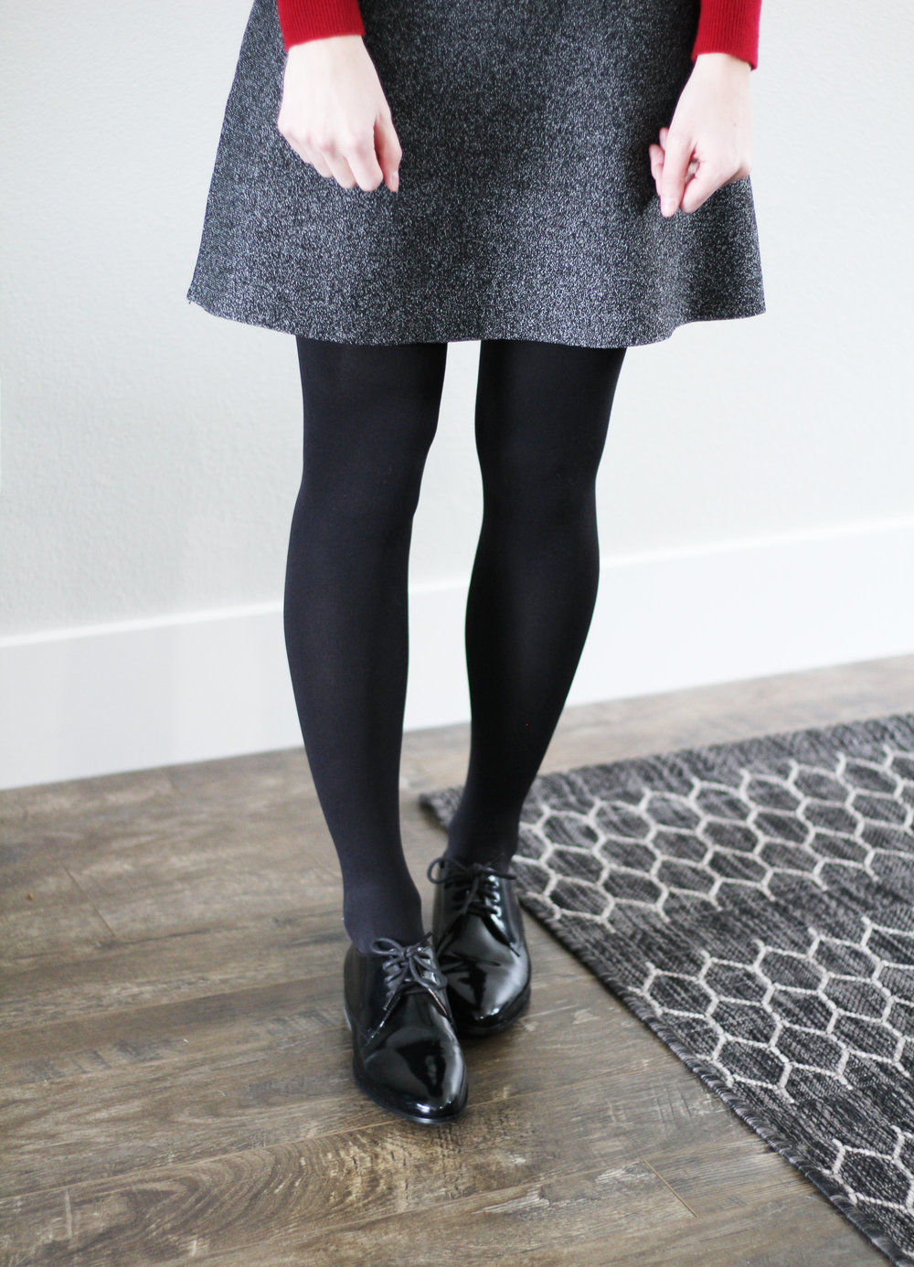 Black shiny oxfords outfit with black speckled skirt — Cotton Cashmere Cat Hair