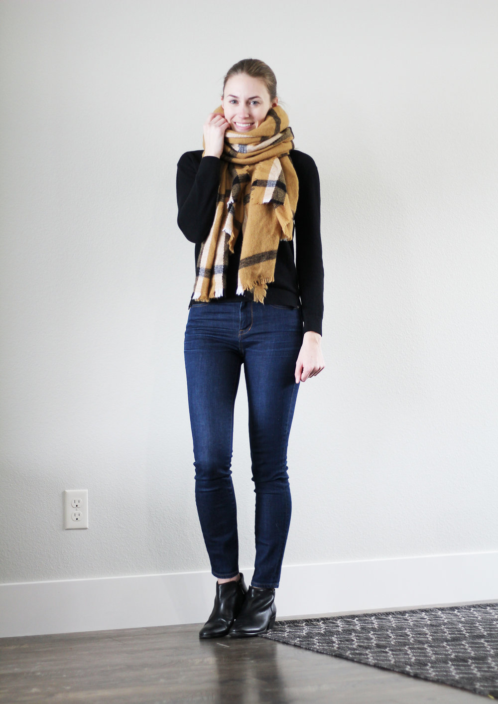 Winter 10x10: Black sweater, high rise skinny jeans, black ankle boots, camel blanket scarf — Cotton Cashmere Cat Hair