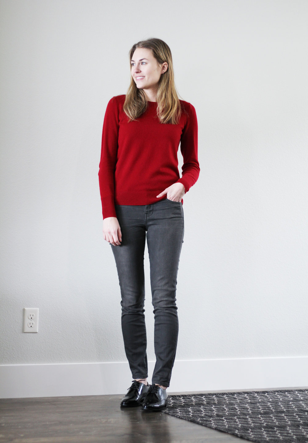 Winter 10x10: Red cashmere sweater, grey skinny jeans, shiny black oxfords — Cotton Cashmere Cat Hair