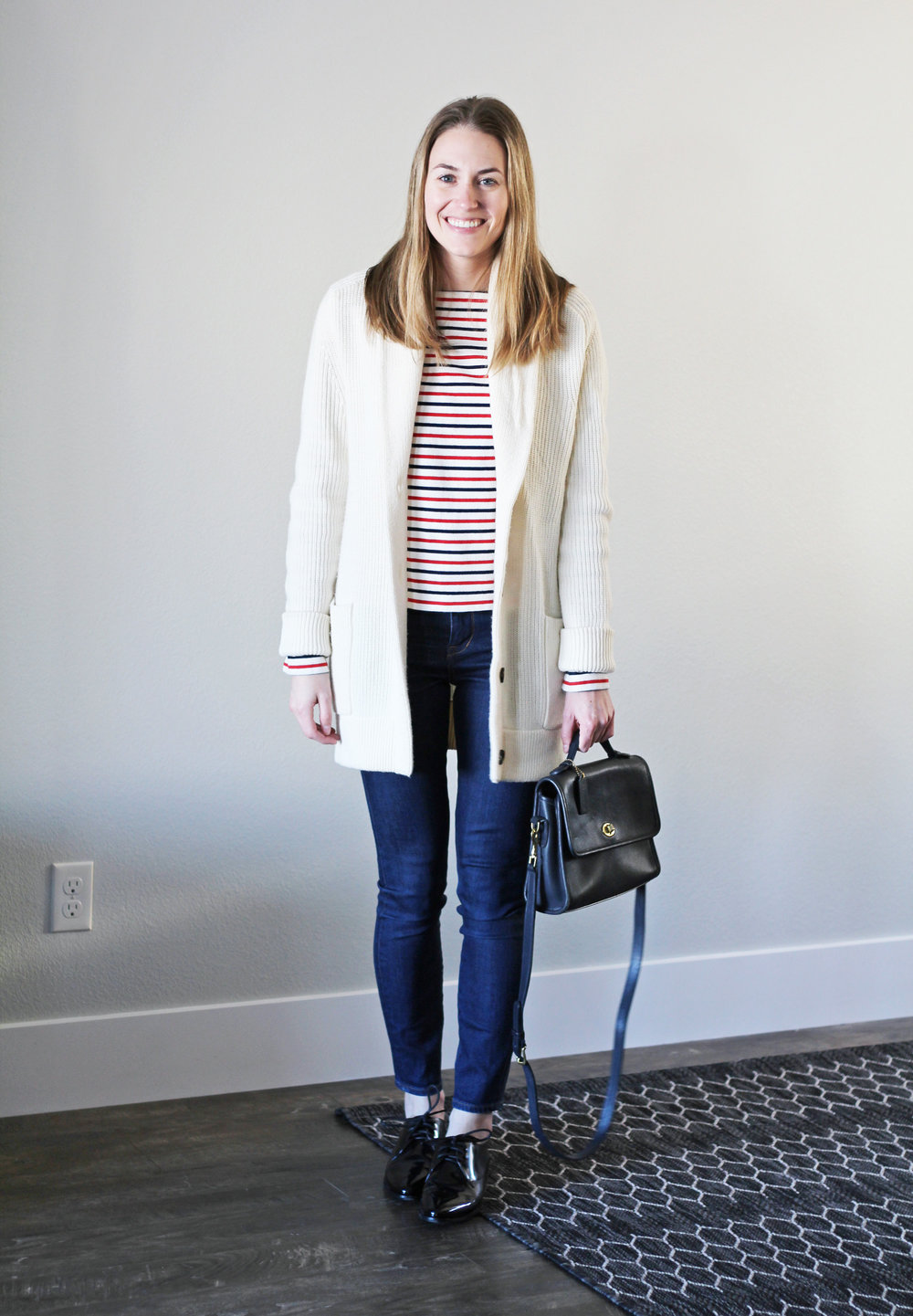 Winter 10x10: Ivory chunky knit cardigan, striped tee, skinny jeans, shiny black oxfords — Cotton Cashmere Cat Hair