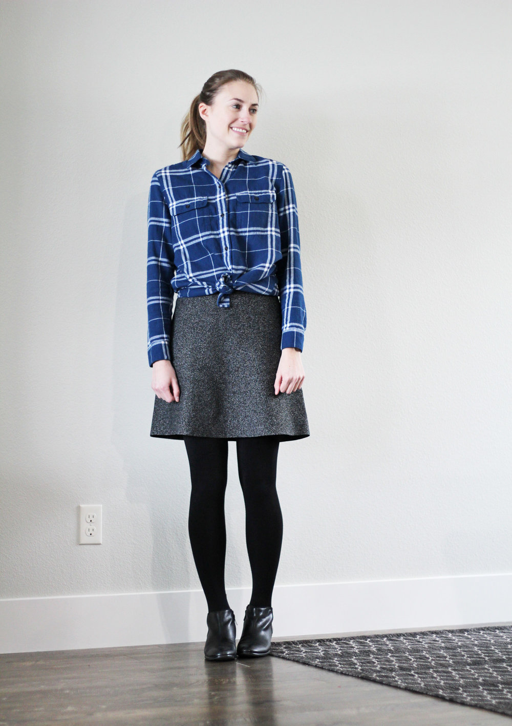 Winter 10x10: Blue plaid flannel shirt, speckled skirt, black ankle boots — Cotton Cashmere Cat Hair