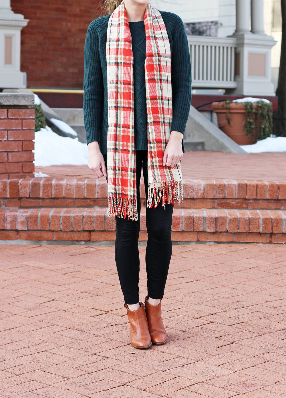 Forest green sweater outfit with black pants, cognac ankle boots, cream plaid scarf — Cotton Cashmere Cat Hair