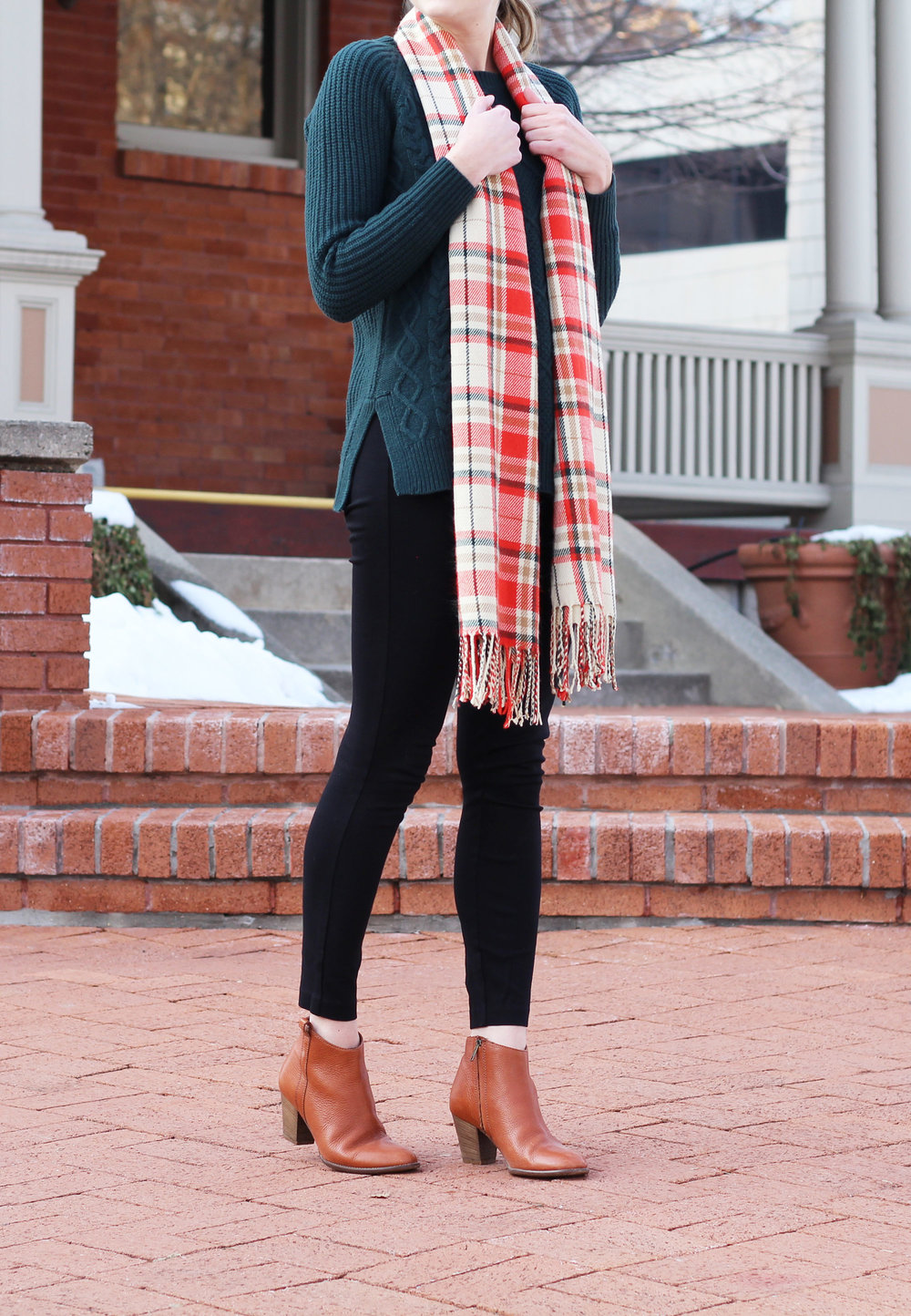 Madewell Billie boot outfit with green sweater, black pants, plaid scarf — Cotton Cashmere Cat Hair