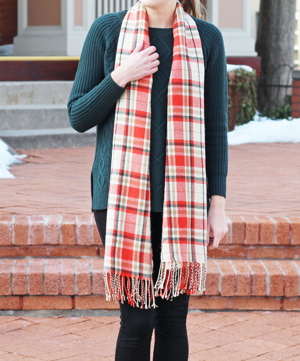 Orange plaid scarf + forest green sweater — Cotton Cashmere Cat Hair