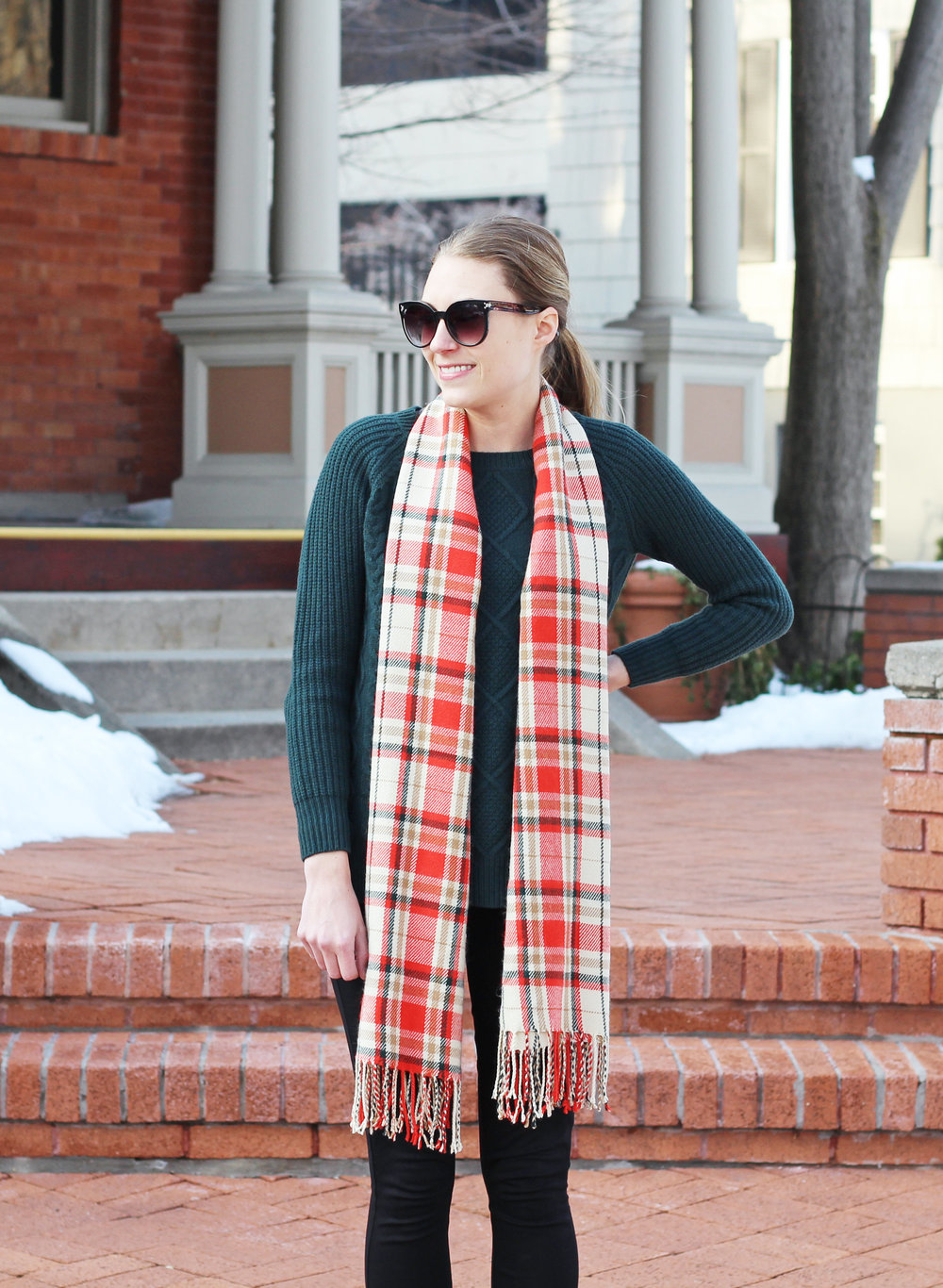 Green cable knit sweater outfit with orange plaid scarf — Cotton Cashmere Cat Hair