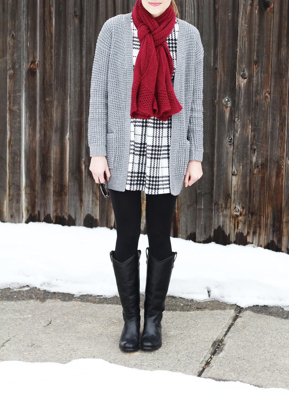 Frye Melissa Button boots outfit with plaid dress, grey cardigan, burgundy scarf — Cotton Cashmere Cat Hair