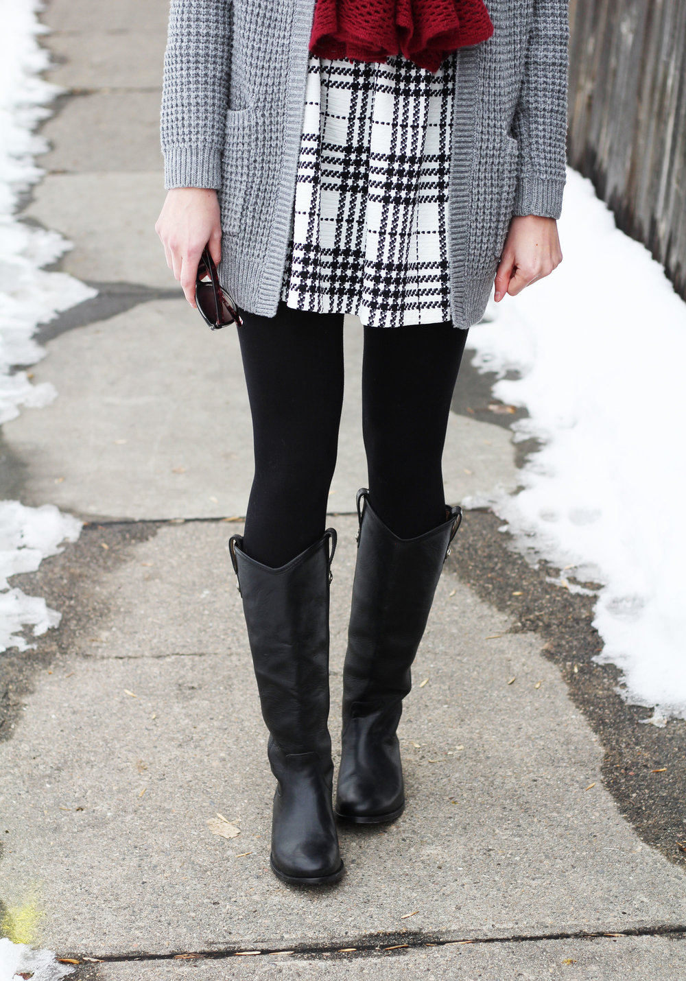Plaid dress outfit with Frye Melissa Button boots in black — Cotton Cashmere Cat Hair