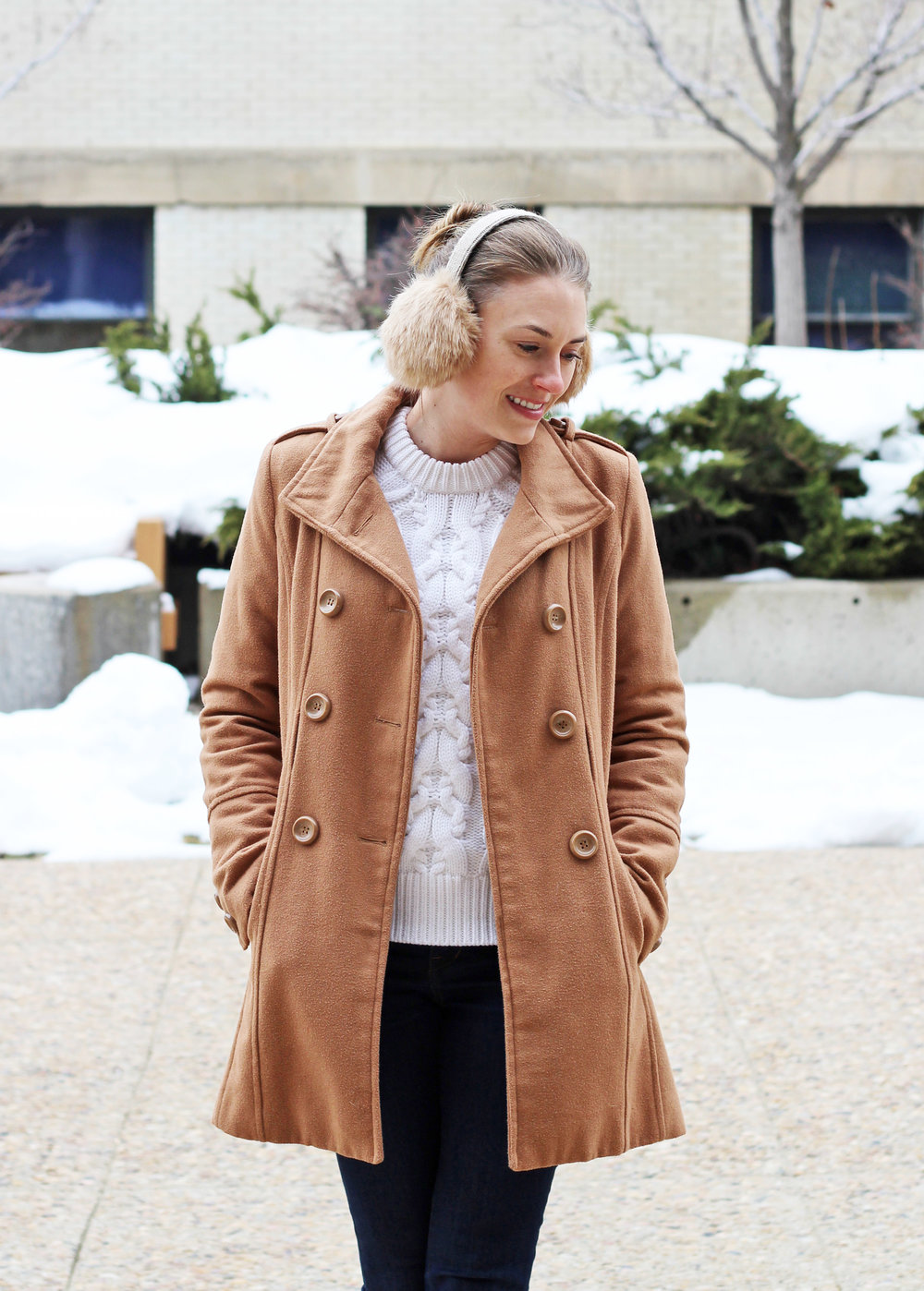 Classic camel coat outfit with ivory cable knit sweater — Cotton Cashmere Cat Hair