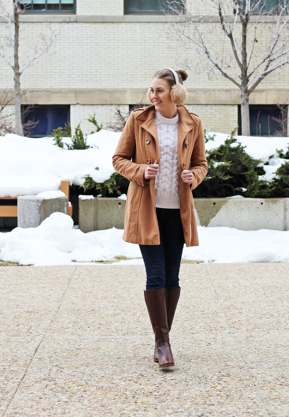 Cold weather classics: camel coat, cable knit sweater, skinny jeans, tall boots — Cotton Cashmere Cat Hair