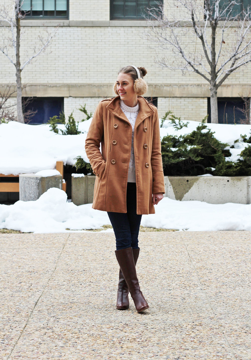 Neutral and classic outfit with camel coat and brown tall boots — Cotton Cashmere Cat Hair