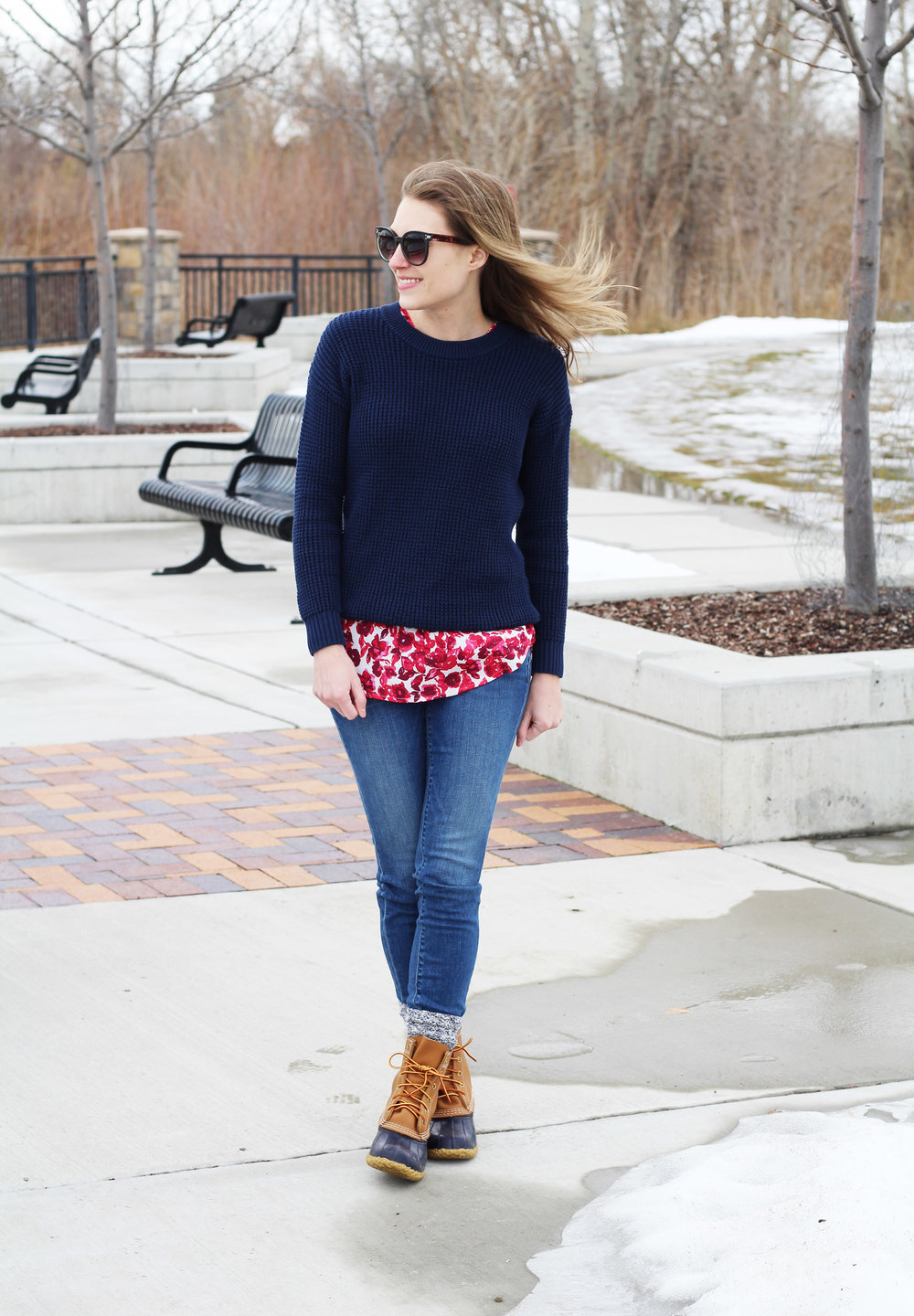 Red floral top outfit with navy sweater and navy Bean boots — Cotton Cashmere Cat Hair