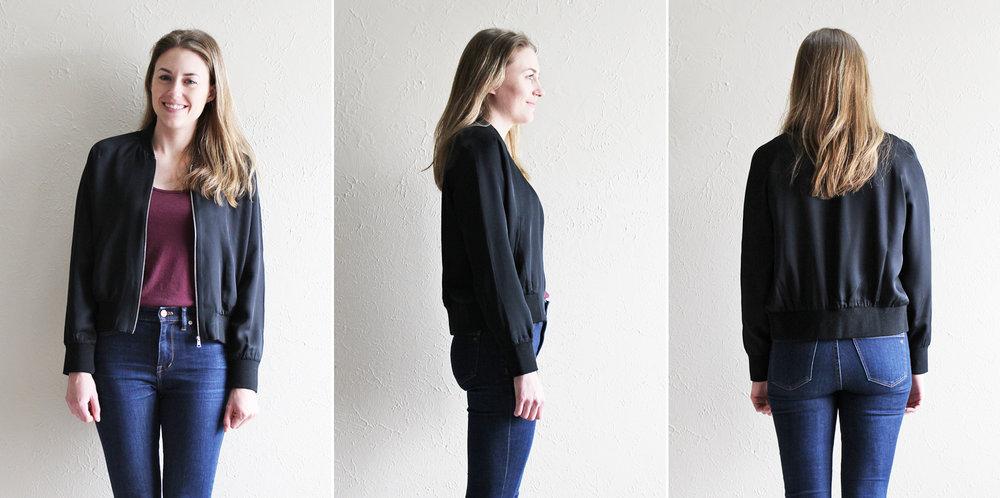 Grana 'Silk Bomber' in black — via Cotton Cashmere Cat Hair