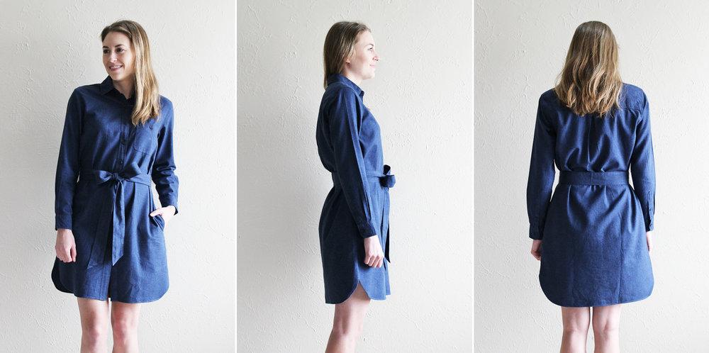 Grana 'Flannel Shirt Dress' in dark blue — via Cotton Cashmere Cat Hair