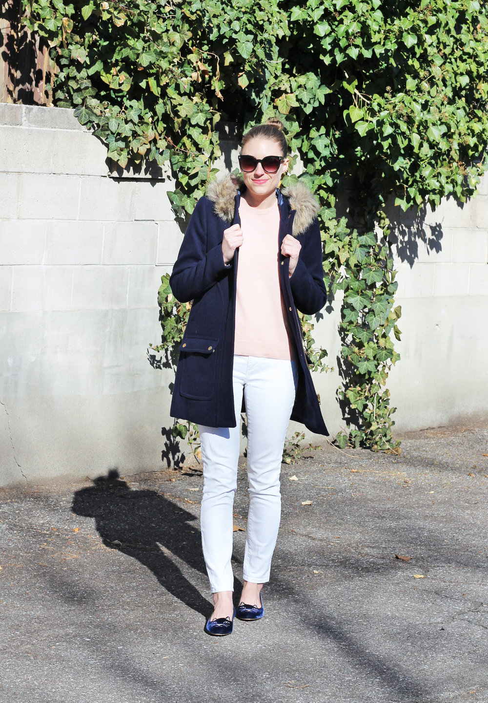 Navy coat, blush pink sweater, white skinny jeans, navy Kitty flats — Cotton Cashmere Cat Hair