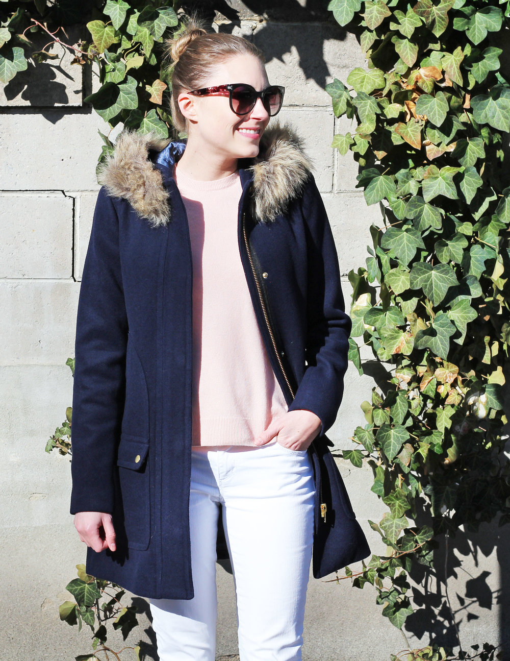 Navy coat outfit with blush pink sweater and white denim — Cotton Cashmere Cat Hair