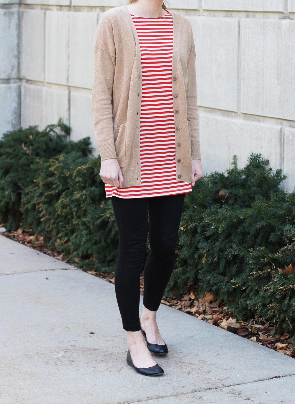 Striped dress layered over ponte pants with camel cardigan — Cotton Cashmere Cat Hair