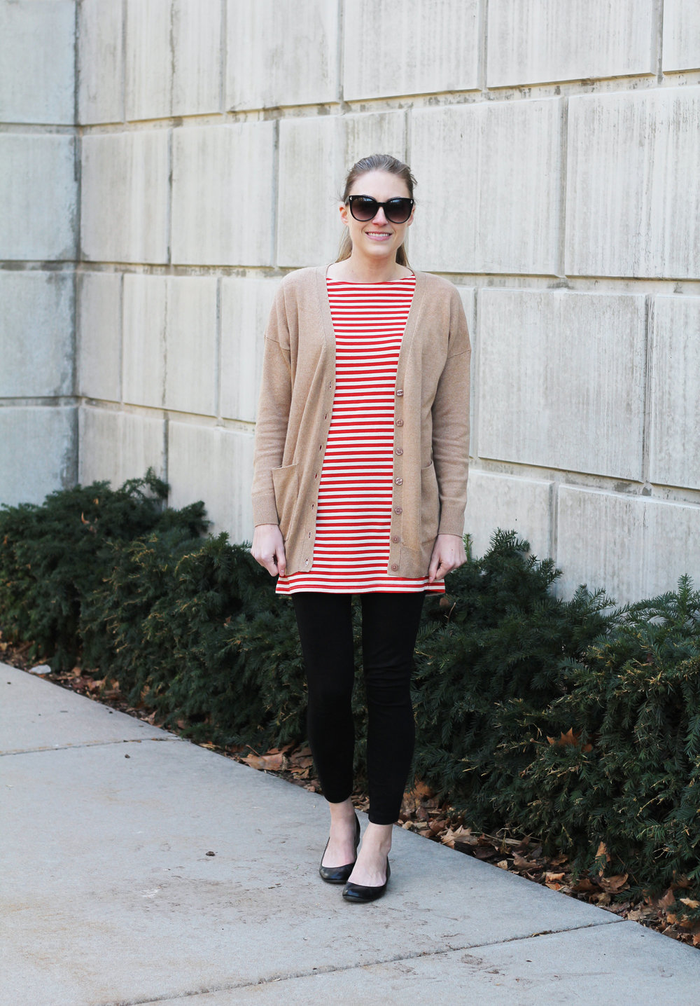 Red striped dress over black ponte pants outfit — Cotton Cashmere Cat Hair
