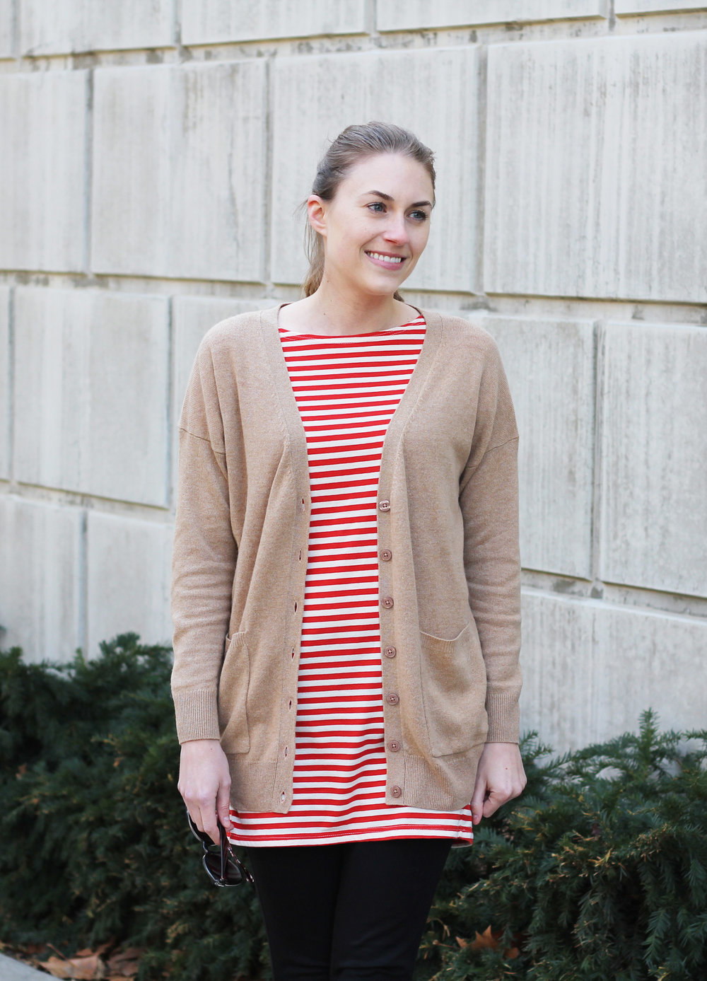 Camel cardigan outfit with red striped dress — Cotton Cashmere Cat Hair