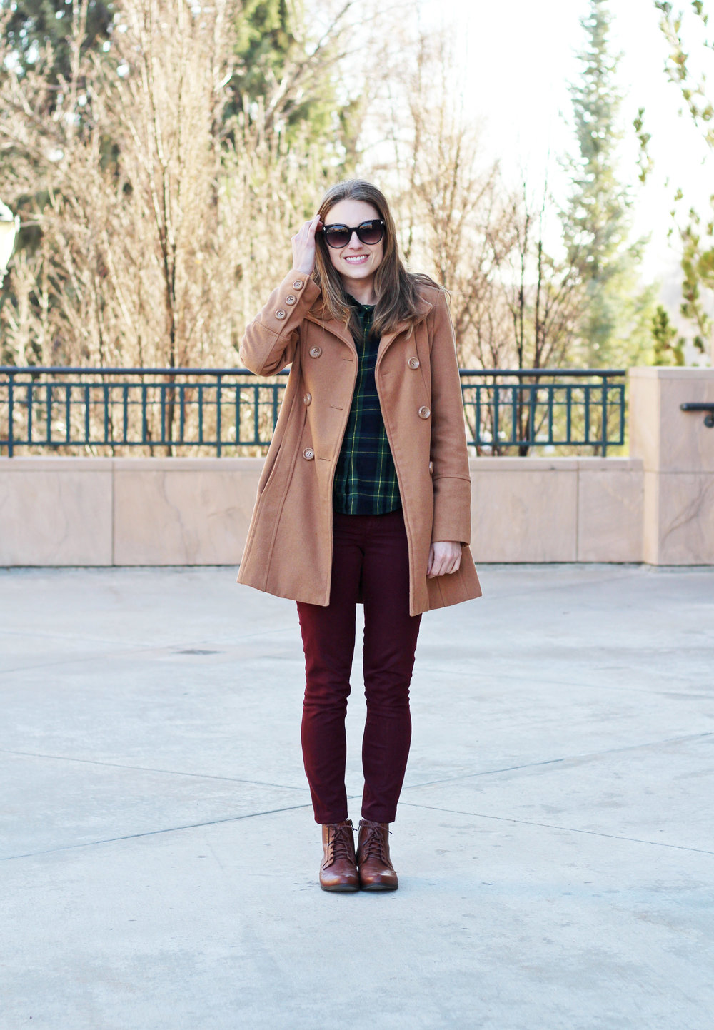 Camel coat, green plaid flannel shirt, burgundy pants, brown boots — Cotton Cashmere Cat Hair