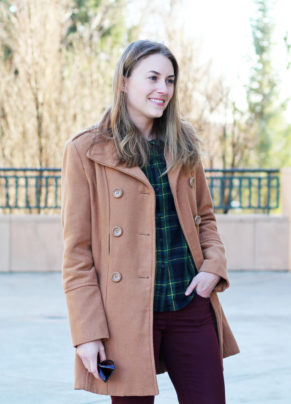 Camel coat outfit with green plaid shirt and burgundy pants — Cotton Cashmere Cat Hair