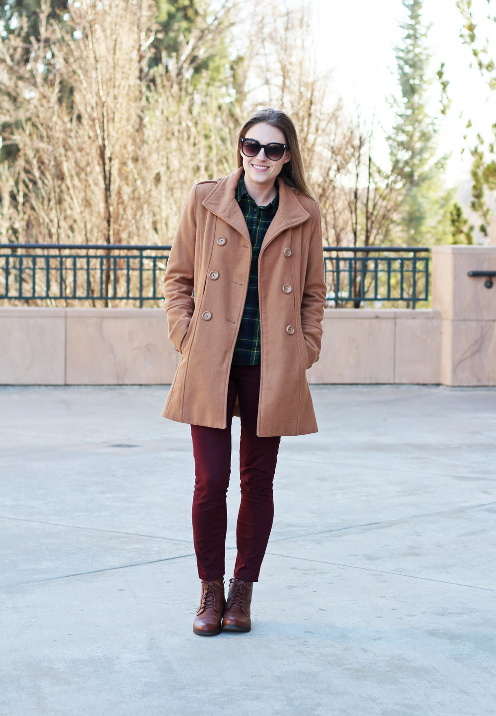 Burgundy pants outfit with camel coat and green plaid — Cotton Cashmere Cat Hair