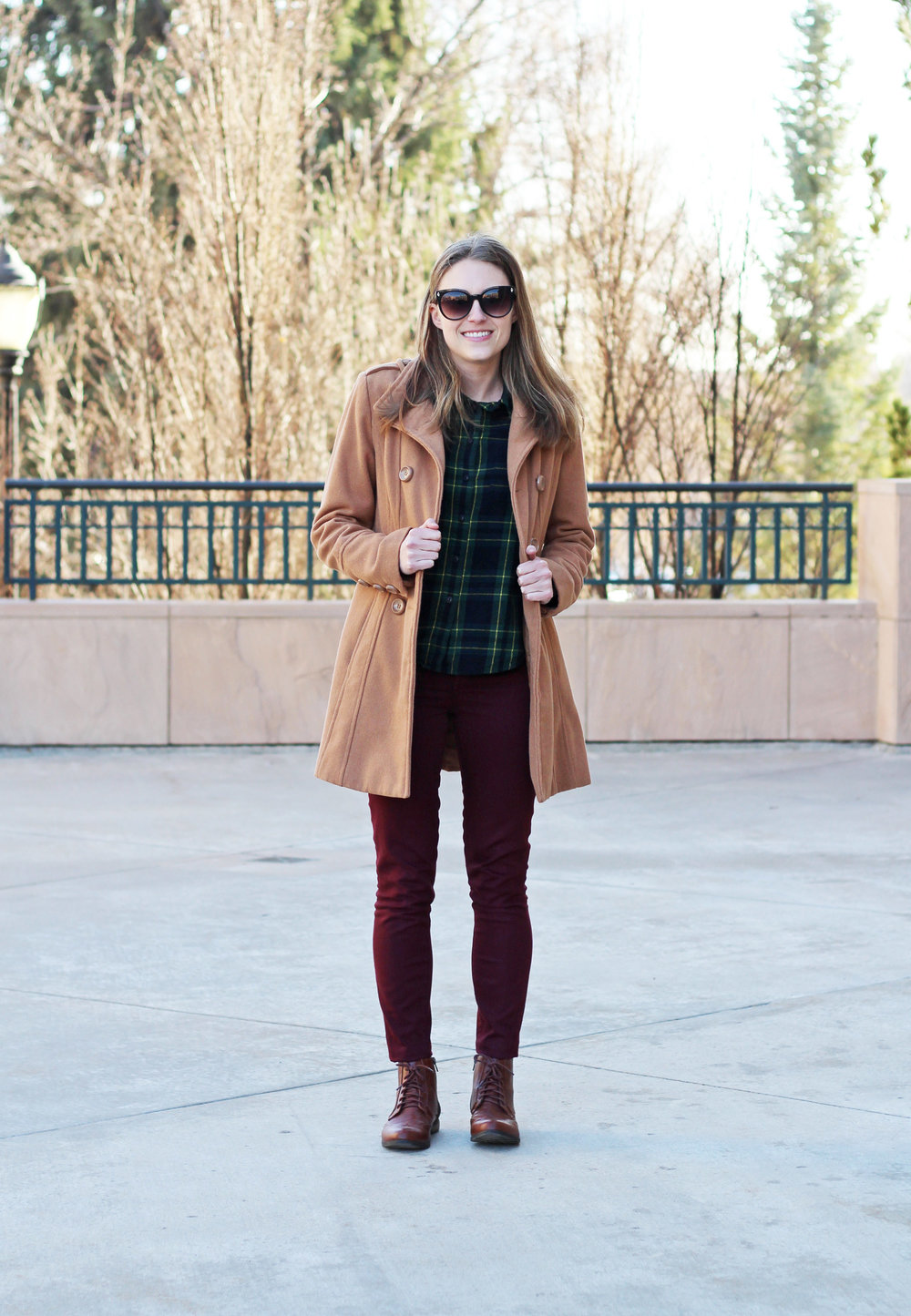 Green plaid flannel shirt outfit with camel coat and burgundy pants — Cotton Cashmere Cat Hair