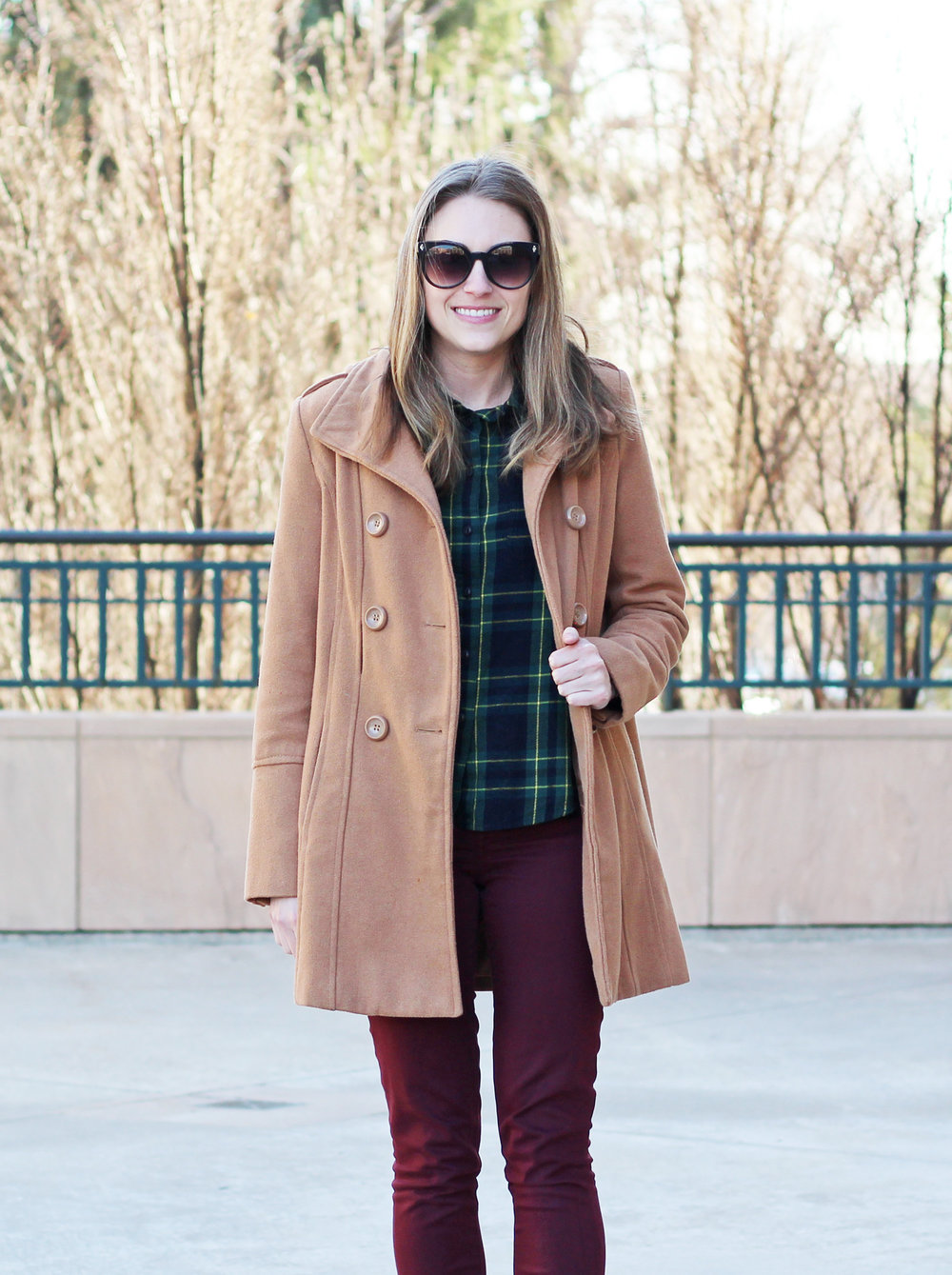 Camel coat with green plaid flannel shirt and burgundy pants — Cotton Cashmere Cat Hair