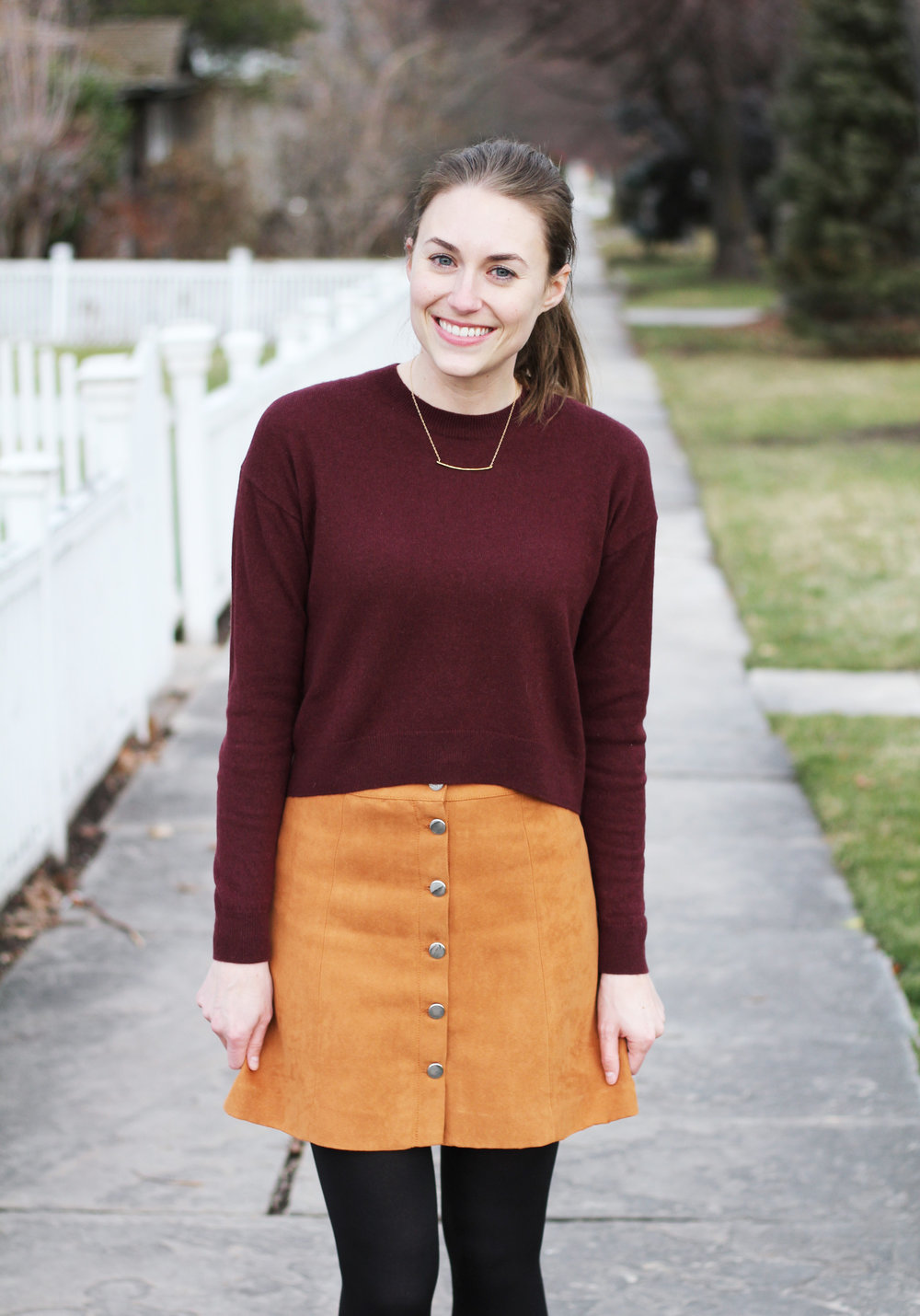 Burgundy cropped sweater outfit with tan button-front mini skirt — Cotton Cashmere Cat Hair