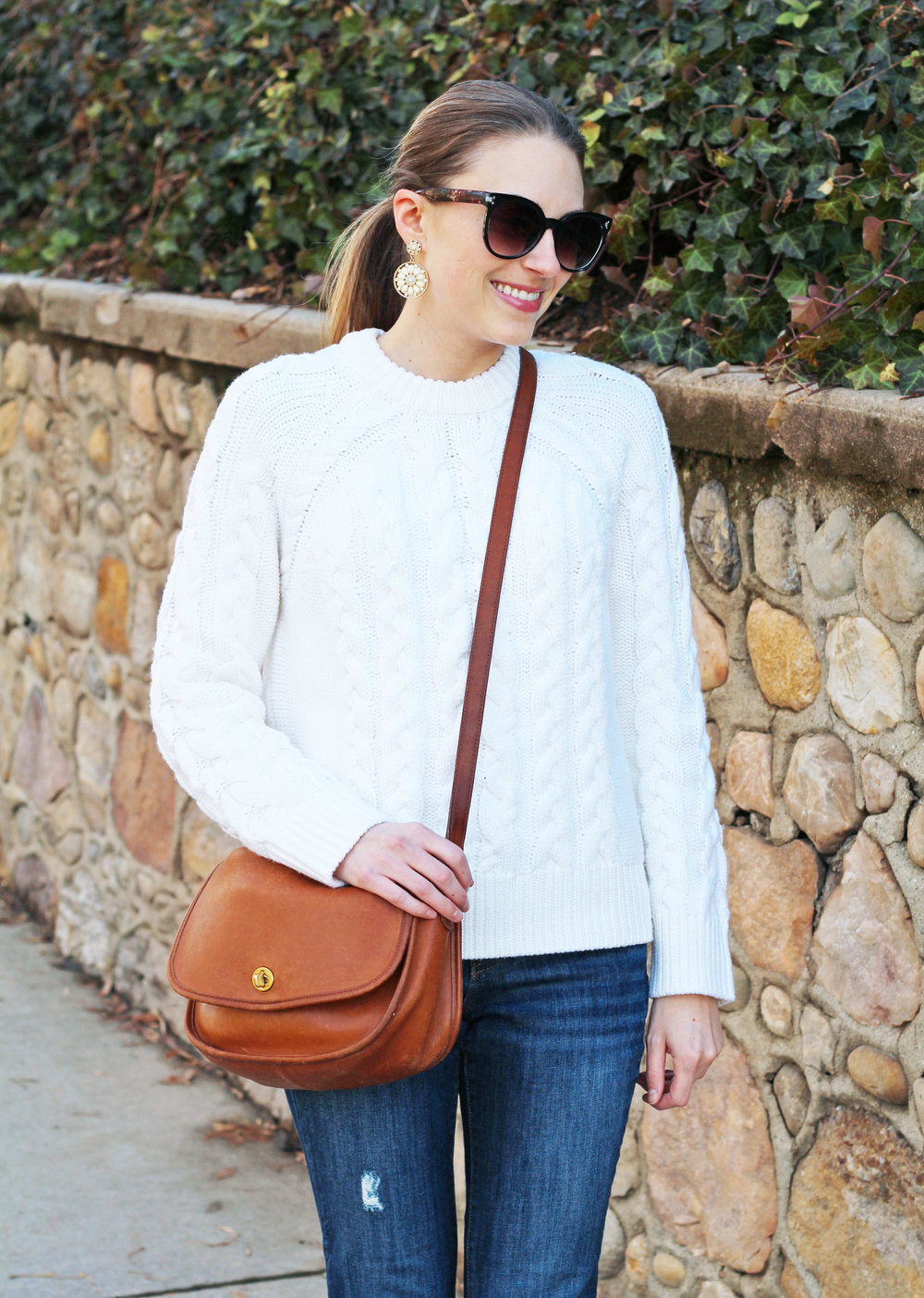 Ivory cable knit sweater outfit with vintage Coach City bag — Cotton Cashmere Cat Hair