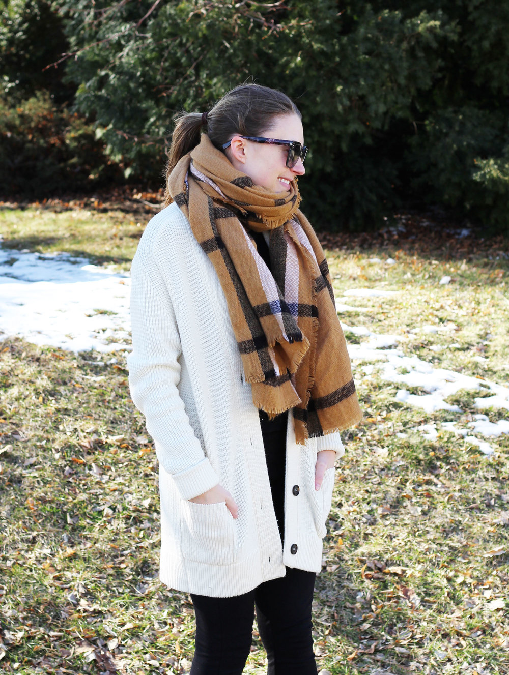 Camel blanket scarf outfit with ivory chunky wool cardigan — Cotton Cashmere Cat Hair