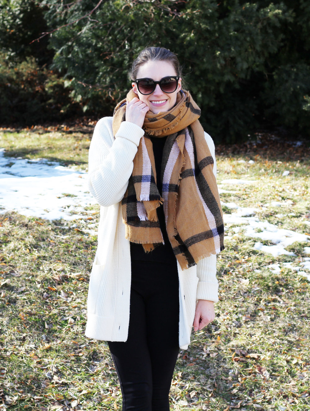 Camel blanket scarf + ivory chunky wool cardigan — Cotton Cashmere Cat Hair
