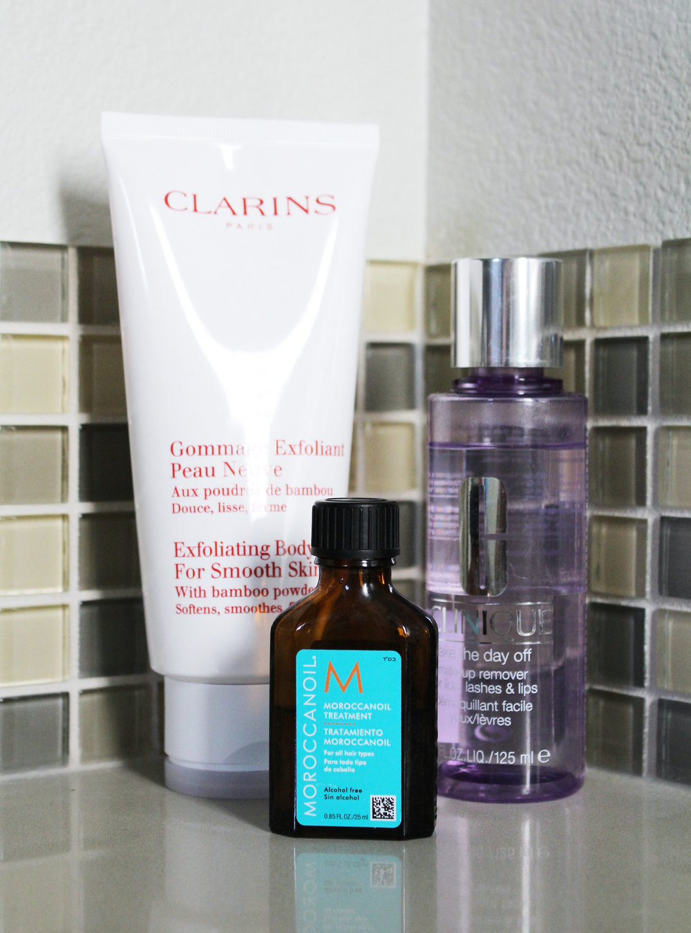 3 additions to shower routine: Clinique makeup remover, Clarins body scrub, Moroccanoil treatment — Cotton Cashmere Cat Hair