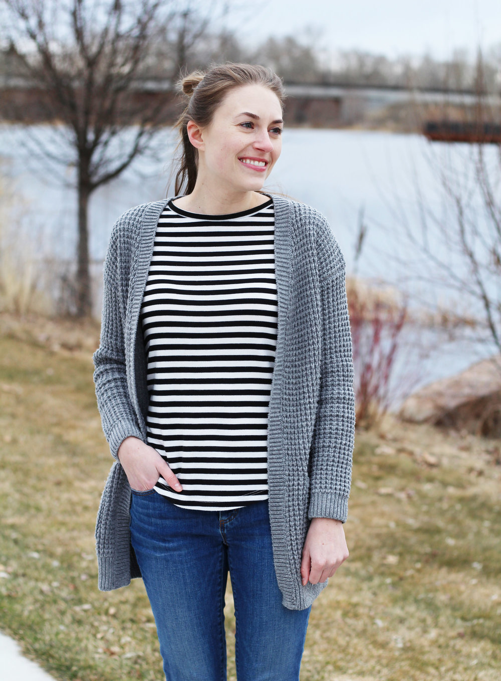 Chunky grey cardigan + stripes — Cotton Cashmere Cat Hair