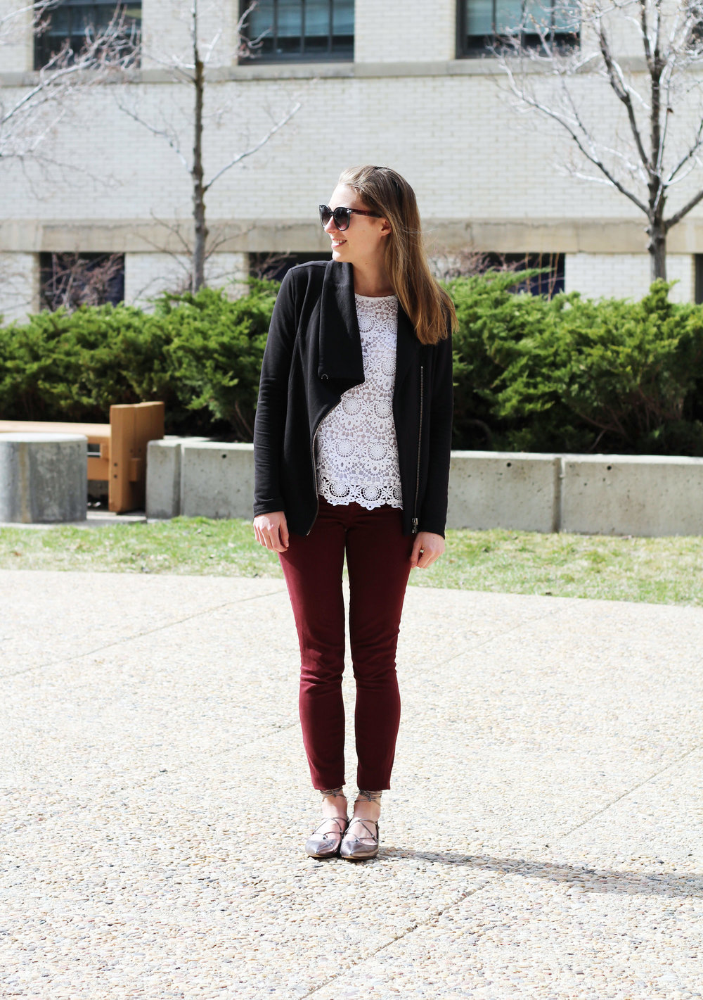 Burgundy pants outfit with black sweatshirt, lace tank, and lace-up flats — Cotton Cashmere Cat Hair