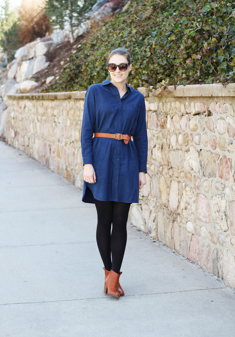 Blue flannel shirt dress outfit with cognac accessories — Cotton Cashmere Cat Hair