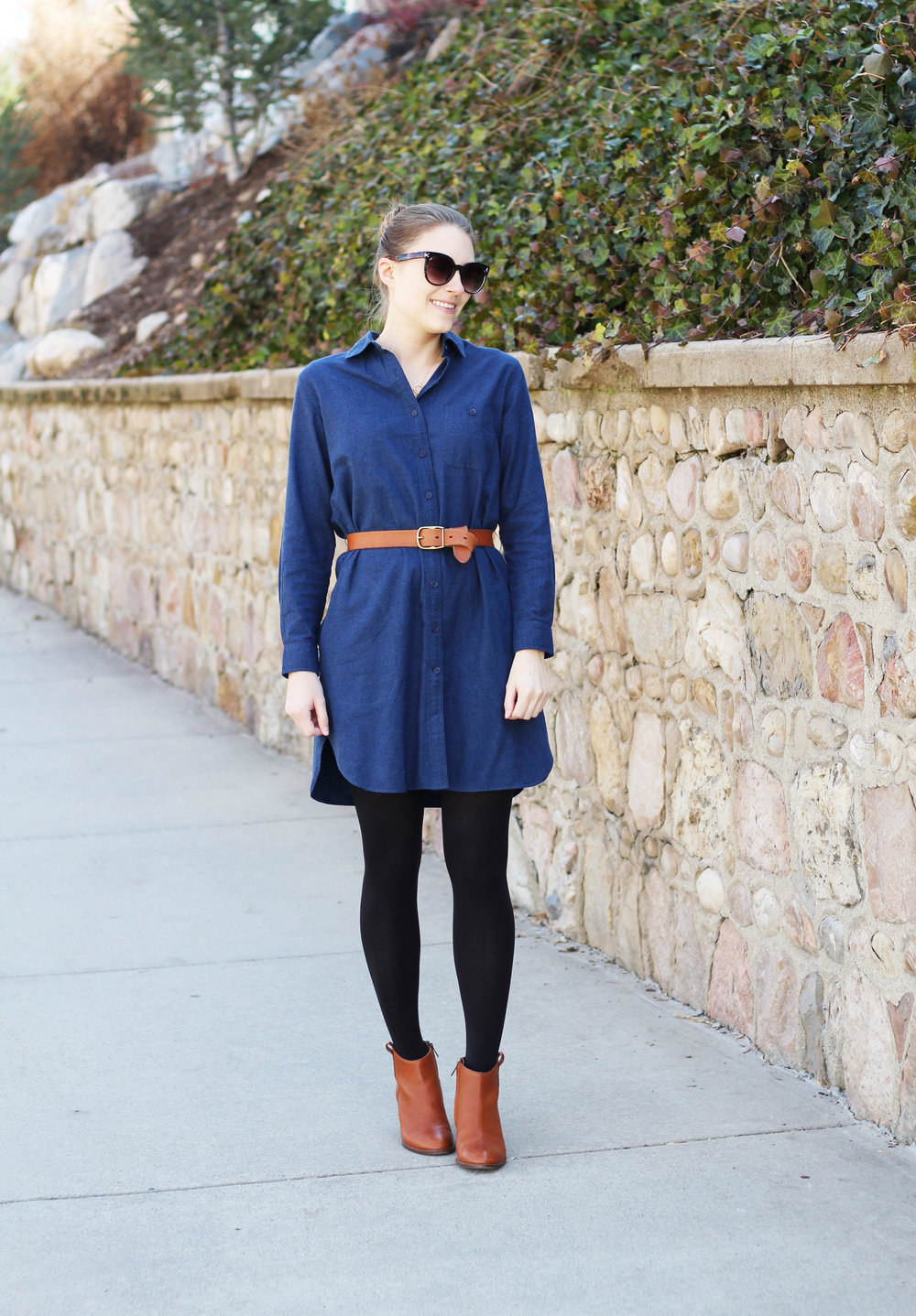 Blue flannel shirt dress outfit with cognac ankle boots and belt — Cotton Cashmere Cat Hair