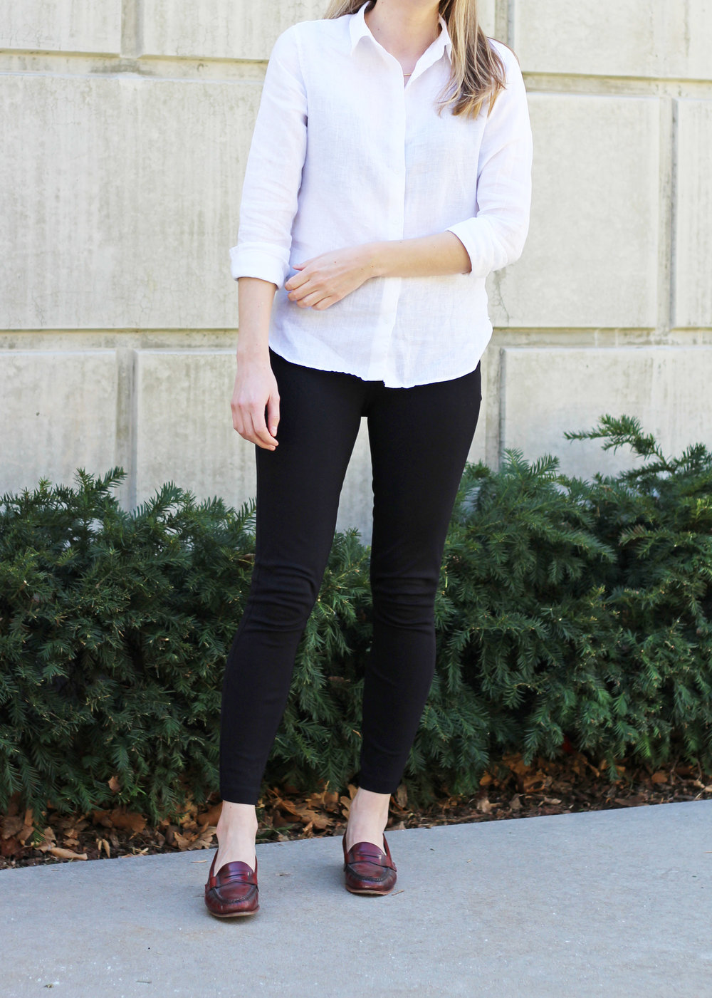 White linen shirt outfit with black pants and red loafers — Cotton Cashmere Cat Hair