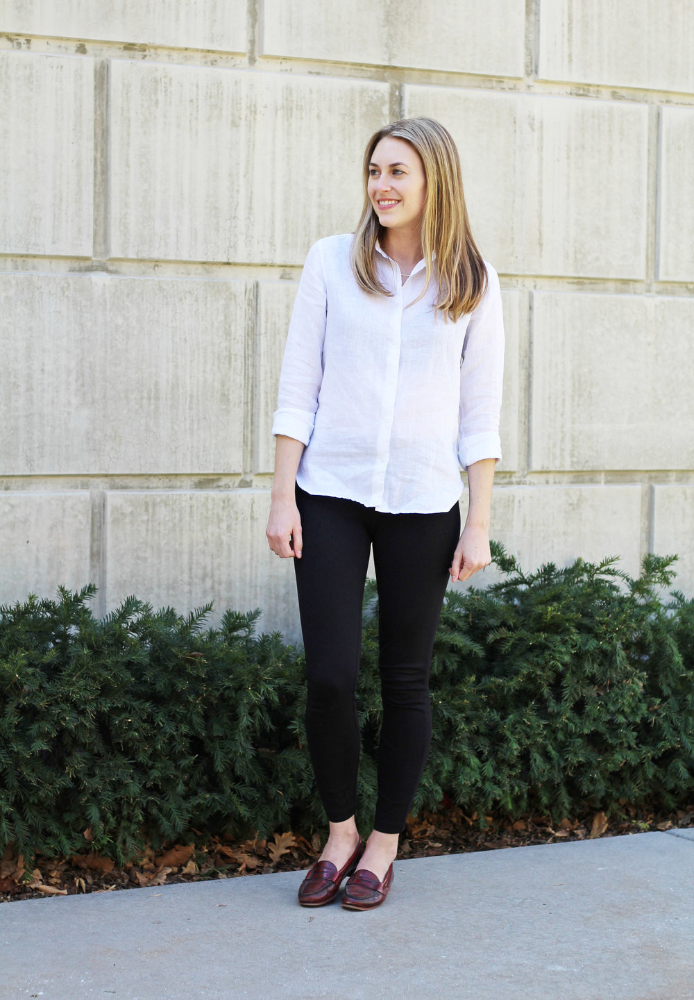 White linen shirt outfit with black ponte pants and red loafers — Cotton Cashmere Cat Hair