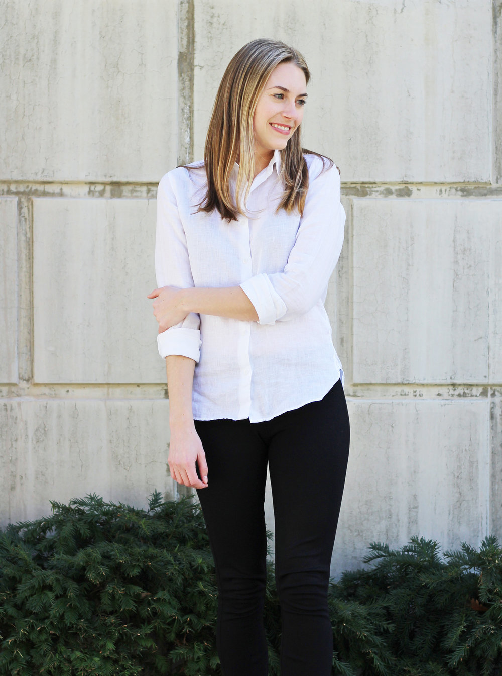 Sheer white linen shirt with black J.Crew Pixie pants — Cotton Cashmere Cat Hair