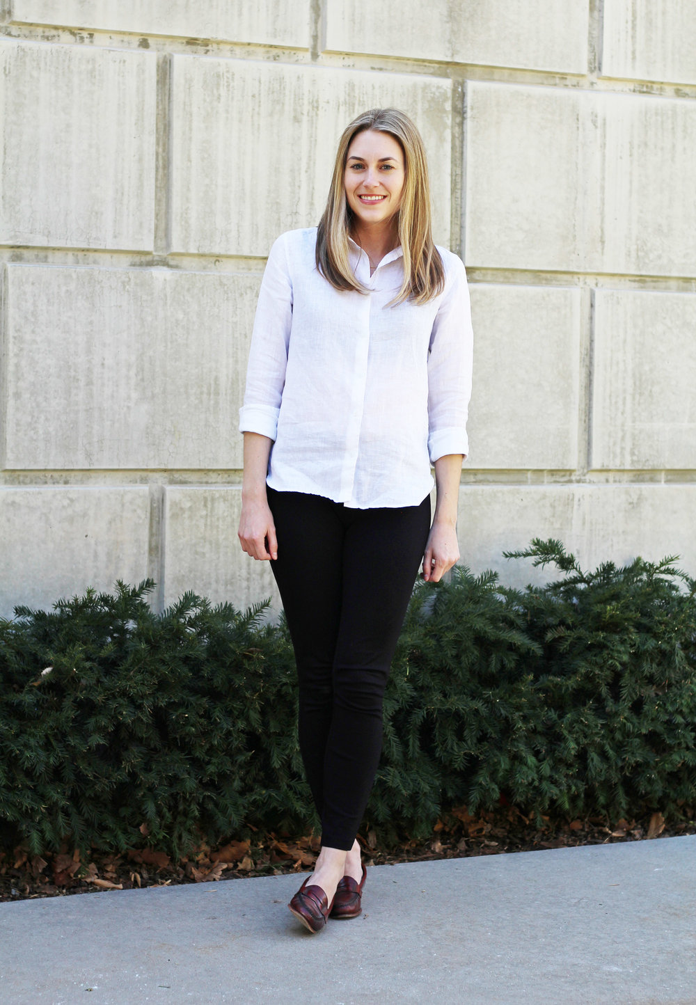 Spring outfit with linen shirt, black pants, red loafers — Cotton Cashmere Cat Hair