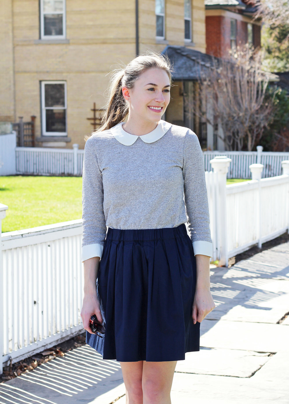Grey Peter Pan collared top + navy skirt — Cotton Cashmere Cat Hair